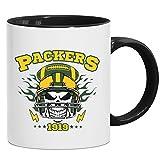 Packers Skull Tasse | American Football | Totenkopf | Football-Helm | Kaffeetasse mit Farbe | Keramik-Becher © Shirt Happenz, Farbe:Schwarz (Intone);Größe:onesize