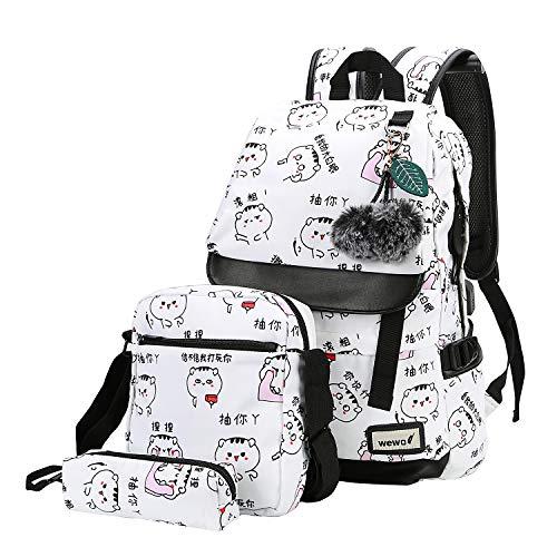 wewo Mochila Escolar Colegio Niña Mochilas Escolares Chica Estudiante Mochilas Mujer Backpack Laptop Ordenador Impermeable Adolescente Niñas Mochila Portátil Juveniles Daypacks Grandes Niños