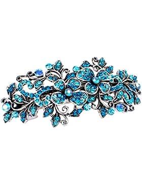 Strass Haarspange Haarschmuck Hochzeit Braut Blume Haarclip Silber Türkis 9 cm
