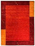 Morgenland Gabbeh Teppich Modern TELLA 350 x 250 cm Rot Orange Handgearbeitet 100% Schurwolle Einfarbig mit Bordüre Wollteppich Weich Kuschelig Für Wohnzimmer Kinderzimmer Flur - In 2 versch. Farben, Viele Größen