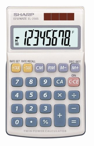 sharp-calculator-el-250s-bolsillo-basic-calculator-plata-calculadora-bolsillo-basic-calculator-plata