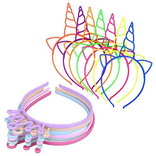X-Mile 18 STÜCKE Mädchen Stirnband Kaiserkrone Hairband Einhorn Horn Ohren Headwear Für Party Dekoration Fotografie Requisiten ()