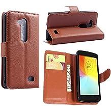Guran® Funda de Cuero Para LG L Fino (4.5 pulgada) Smartphone Tirón de la Cubierta de la Función de Ranura Tarjetas y Efectivo Caso