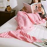 XILIUHU Mermaid Decke Handgefertigt aus Gewirken Schlafen Wickeln Fernseher Sofa Mermaid Schwanz Decke Kinder Adult Baby gehäkelte Tasche Bettwäsche Plaids Tasche, Pink, 90 x 170 cm
