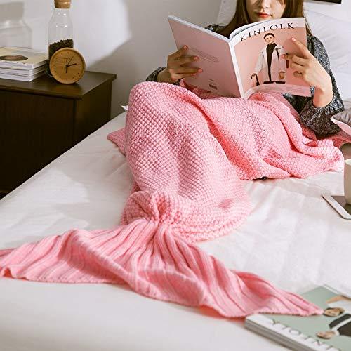 XILIUHU Mermaid Decke Handgefertigt aus Gewirken Schlafen Wickeln Fernseher Sofa Mermaid Schwanz Decke Kinder Adult Baby gehäkelte Tasche Bettwäsche Plaids Tasche, Pink, 70 x 130 cm -