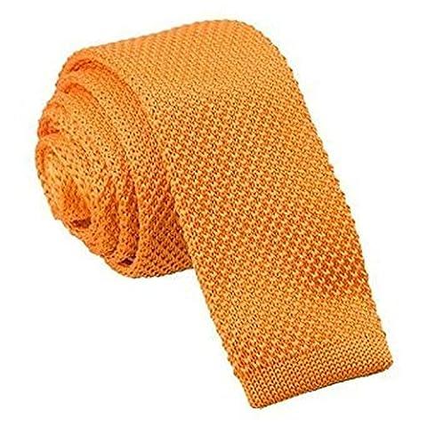 DQT Premium Knitted Polyester Plain Solid Tangerine Men's Skinny Narrow 5cm Tie