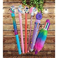 Urban Festivities 6 x Unicorn Pens | unicorn pencil | unicorn stationary | Unicorn Combo Set for Girls Kids (Design…