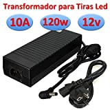 Ahorraluz Transformador DC Alimentador para Tiras Led Fuente de Alimentación 220v (12v 10A 120w), Negro