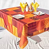 Nappe Catalognia rectangulaire - Anti Taches, Infroissable - 100% Polyester (Tissu) - Orange, 240x150cm, Rectangulaire