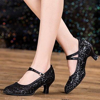 XIAMUO Nicht anpassbar - Die Frauen tanzen Schuhe Leder/Lack Leder Leder/Lackleder Latin/Jazz Heels kubanischen HeelBeginner/ Schwarz