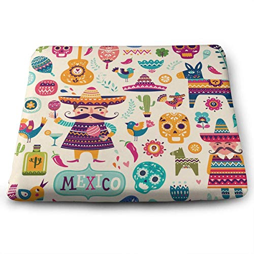 keiwiornb Square Chair Pads Cartoon Mexican Symbols Seat Cushions Comfortable Seat Cushion with Filling | Beautiful and Decorative Cushions for Home,Kitchen, Dining Room and Chair Pads