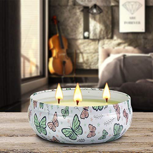 TriLance Mückenschutz Duftkerzen Outdoor Indoor Aromatherapie Stressabbau Reines Soja Wachs 3 Dochte Aromatherapie Kerzen 70 Stunden Brennen Langlebig (16 Unzen, Eisenkiste) (1Duft-Spring) - Reinen Soja Kerze