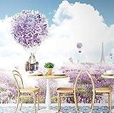 Mediterrane Luftballon Tapete Wohnzimmer TV Hintergrundbild Lavendel Wandtuch, 300 × 210 cm