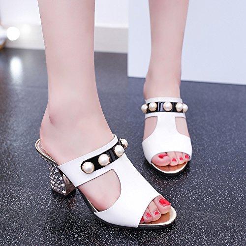 ZYUSHIZ Sandalen Hausschuhe Sommer Frau Outdoor Freizeitaktivitäten Koreanische Version Weiß