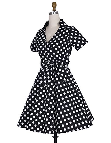 Dresstells Rockabilly Kleid 1950er Retro Polka Dots Kurz Faltenrock Petticoat Cocktailkleid Chocolate Dot XL -