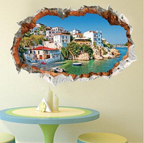 GYMNLJY Wand-Sticker 3D stereoskopische mediterrane Landschaft Innendekorationen Aufkleber Kunst Wandtattoo abnehmbar , (Halloween Innendekorationen)