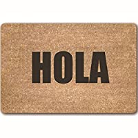 "JTENGYAO""HOLA"" Funny Doormat Non-Slip, Durable, Made Using Odor-Free Natural Rubber Fibers - 15.7 x 23.6 Inch"