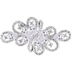Broche lujoso de color plateado con cristales de circonita transparentes, diseño de racimo con forma de gota