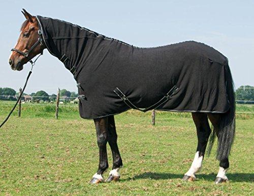 Reitsport Amesbichler Harry`s Horse Fleecedecke Deluxe mit Halsteil schwarz 145 cm| Pferde Fleecedecke mit Halsteil | Pferde Abschwitzdecke mit Halsteil