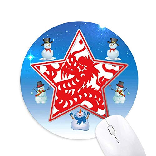 Paper -cut Dragon Animal China Zodiac Snowman Maus Pad Round Star Mat