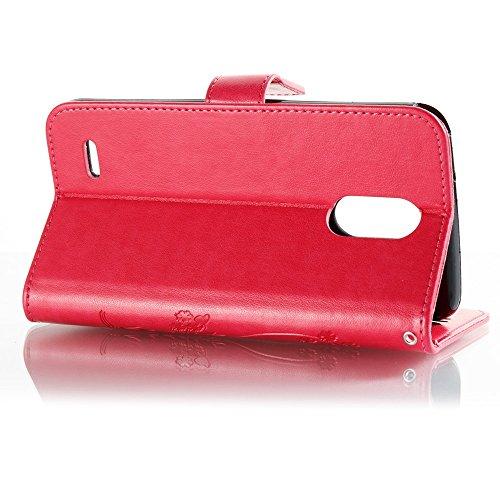 EKINHUI Case Cover Solid Color Faux Leder Bookstyle Brieftasche Stand Case mit geprägten Blumen & Lanyard & Card Slots für LG LS777 ( Color : Coffee ) Rose