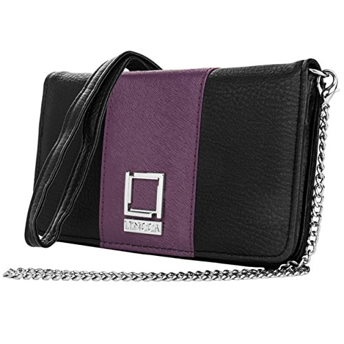 Price comparison product image Lencca Kyma Vegan Leather Crossbody Smartphone Clutch Wallet Purse with Removable Chain Shoulder Strap - Black / Purple