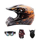Motorradhelm, Jugend Kinder Dirt Bike Helme, Motocross Racing Bike Helm Vier Jahreszeiten universal (Handschuhe, Brille, Maske, 4-teiliger Satz),Orange,M