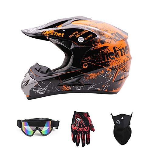 Motorradhelm, Jugend Kinder Dirt Bike Helme, Motocross Racing Bike Helm Vier Jahreszeiten universal (Handschuhe, Brille, Maske, 4-teiliger Satz),Orange,S