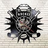 Giocatore di hockey logo bastone da hockey e hockey su ghiaccio disco in vinile orologio da parete hockey club team logo wall wall art orologio da parete regalo fan di hockey