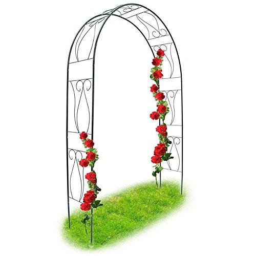 Bakaji arco da giardino supporto per rose piante rampicanti in metallo 153 x 35 x 233h cm colore verde scuro