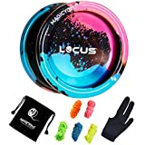 MAGICYOYO V6 Locus Responsive Yoyo Metal Yo Yo Aluminum Alloy YoYo Ball for Beginner Learner Kids with Bag Glove 5 Spinning Strings (Black splash Blue& Pink)