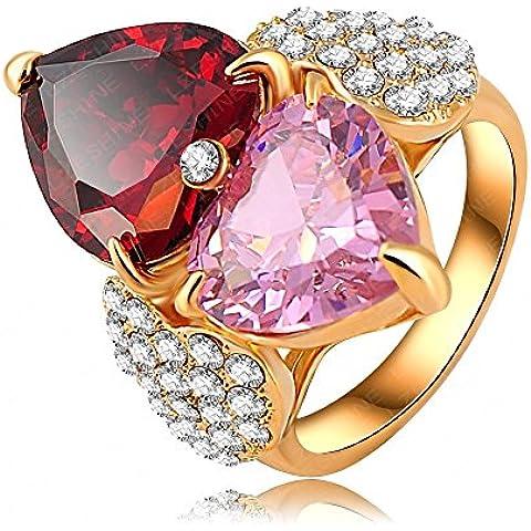 Bling fashion love anello regalo 18K Placcato Oro A Forma Di Cuore Anelli Con Cristalli Austriaci,