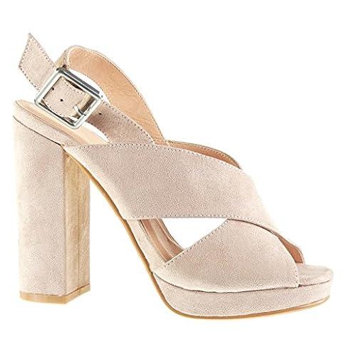 Angkorly - Chaussure Mode Sandale Mule plateforme ouverte femme lanière boucle Talon haut bloc 12 CM - Rose - JM-99 T 39