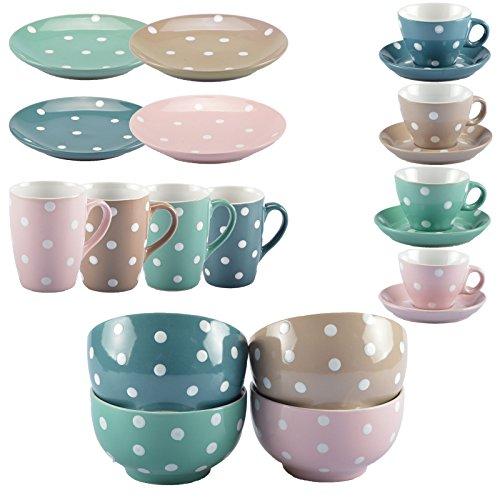 DOTS Geschirrserie Kaffegeschirr Tafel-Service Becher Tasse Teller Müslischale (Kaffeebecher:, Hellbraun) (Tafel-becher)