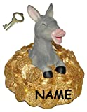 Unbekannt Spardose Goldesel - mit Schlüssel + Name - Stabile Sparbüchse aus Kunstharz - Esel mit Gold Geld Sparschwein Kohle Käse Geldhaufen