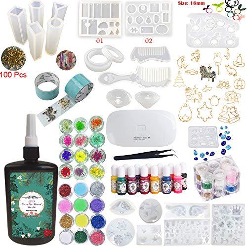 6dda1a6617c2 250g Resina epossidica UV Trasparente Kit 24 Stampi 17 Cornici + pigmenti  glitter abbellimenti e lampada