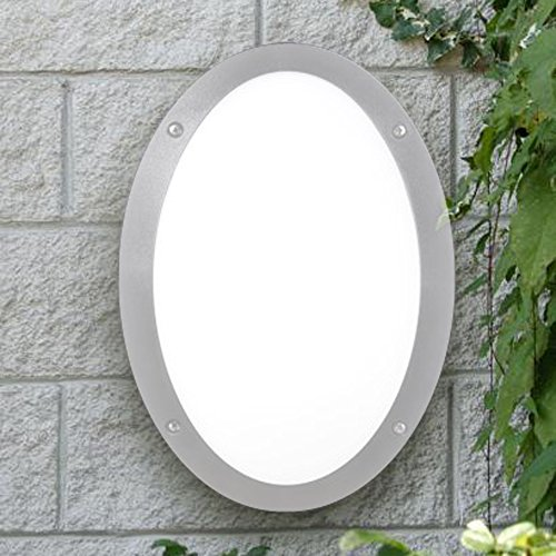 barcelonaled 1V3.000.000. lye27Wandleuchte oval Außen IP66Sockel E27Glas opal Farbe Grau