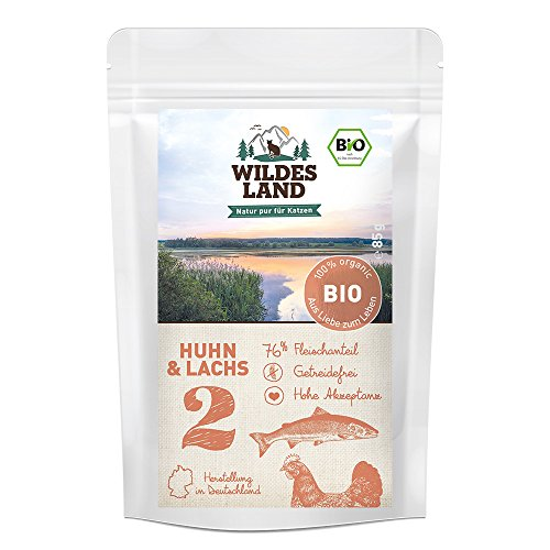 Wildes Land   Nr. 2 Huhn & Lachs   Bio   12 x 85 g   Nassfutter für alle Katzenrassen   Aus kontrolliertem biologischen Anbau   Getreidefrei   Extra viel - Hühner Napf Futter