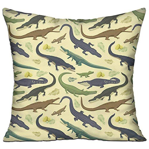 fdgjfghjdfj Fierce Alligator Crocodile,Pillow Covers Decorative Pillowcase Cushion Covers with Zipper 18x18 Inches