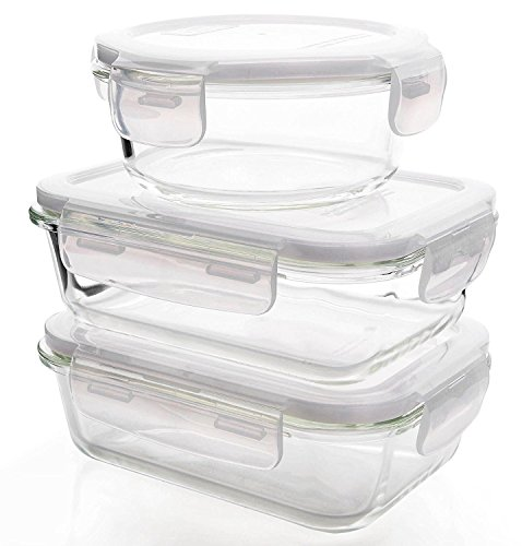 Glassik Microwavable Borosilicate Glass BPA Free Food Storage Container with Lid - Set of 3