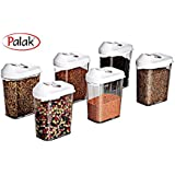Cereal Dispenser Easy Flow Storage Jar 750ml, Idle For Kitchen- Storage Box Lid Container/Plastic Easy Flow Kitchen Container Set/Storage Box Perfect For Cereals, Rice, Pulses By PALAK (Pack Of 6)