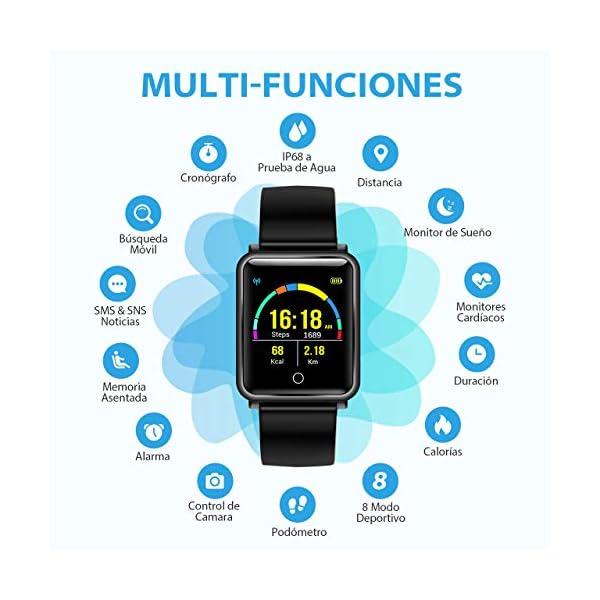Seneo Reloj Inteligente Hombre, Reloj de Seguimiento de Actividad, Podómetro Deportivo con Monitor de Ritmo Cardíaco Monitor de Sueño para Teléfonos Inteligentes Android o iOS 2