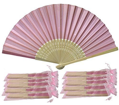 Rangebow SHF09 Lavande Rose/Rose clair-Lot 10 Commerce de gros en soie élégant Éventail en bambou cadeau mariage faveur de la cage thoracique