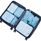 Belsmi Reise Kleidertaschen Set 8-teilig Reisetasche in Koffer Reisegepäck Organizer Kompression Taschen Kofferorganizer Mit Schuhbeutel (Blau Blume)