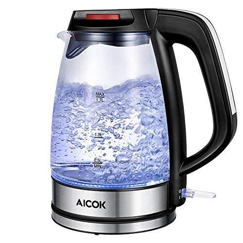Aicok bollitore elettrico, bollitore in vetro, bollitore acqua con luce led blu, filtro anticalcare,potenza 2200w, capacità di 1.7 l, bollitorea risparmio energetico per acqua, tè, tisane colore nero