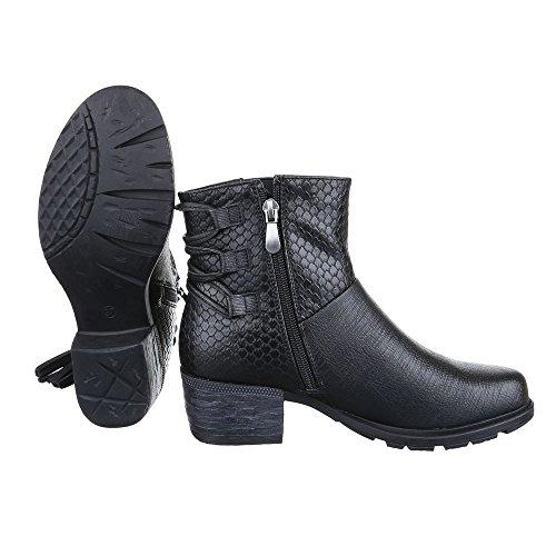 Cowboy- / Westernstiefeletten Damen Schuhe Cowboy Stiefel Kubanischer Absatz Moderne Reißverschluss Ital-Design Stiefeletten Schwarz