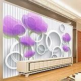 Wandgemälde Benutzerdefinierte Fototapete 3D Kreis Lila Tulip Blume Wohnzimmer Sofa Tv Hintergrund Wohnkultur Tapete Wandbild,60Cm(H)×120Cm(W)