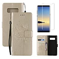 for Samsung Galaxy Note 8 Wallet Case and Screen Protector ,OYIME [Gold Cute Cat and Butterfly Tree] Design Leather Kickstand Magnetic Holster with Card Holder Full Body Protective Flip Cover