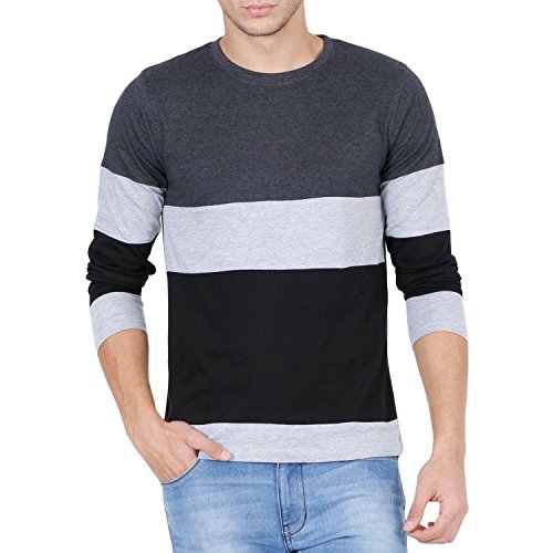 Style Shell Men's Tri Colour Full Sleeve Cotton T-Shirt (Black, Large)