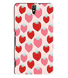 Blue Throat Red Pink Strawberry Printed Designer Back Cover/Case For Sony Xperia C5
